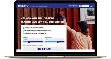 Jämför privatlån upp till 600 000 kr snabbt och enkelt via Direkto