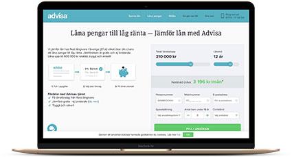 Ansök om privatlån via Advisa - få svar från upp till 39 banker och långivare